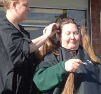 Linda also bravely giving up her hair to raise money for children with cancer